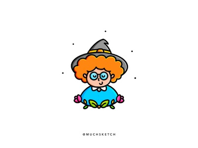 The happy witch 🧙♀️🧡🖤 monster character characterdesign orange potion halloween spooky vector harrypotter hermione wizard witch drawing sketch minimal flat art illustrator illustration kawaii