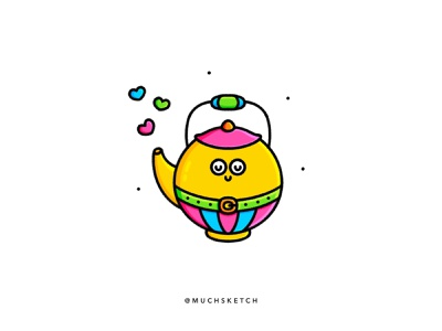 Teapot ☕️✨ love procreate art cute art yellow color line work kettle lineart clean vector minimal icon kawaii illustrator illustration drawing rainbow tea party tea pot tea