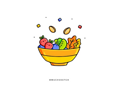 Fruit bowl 🍓🥝🍒 yellow procreateapp procreate art procreate app salad fruit logo fruit icons bowl procreate illustrator illustration kale blueberries strawberries strawberry pistachio kiwi fruit illustration fruits fruit