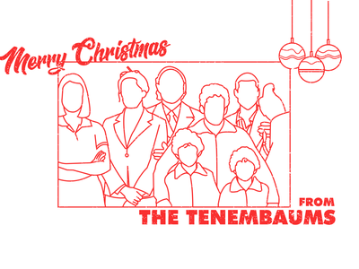 MERRY CHRISTMAS FROM THE TENENBAUMS - Dribbble Weekly Warm-up 14 grain minimalist linework christmas card chirstmas wes anderson vector line art design dribbbleweeklywarmup adobe illustrator