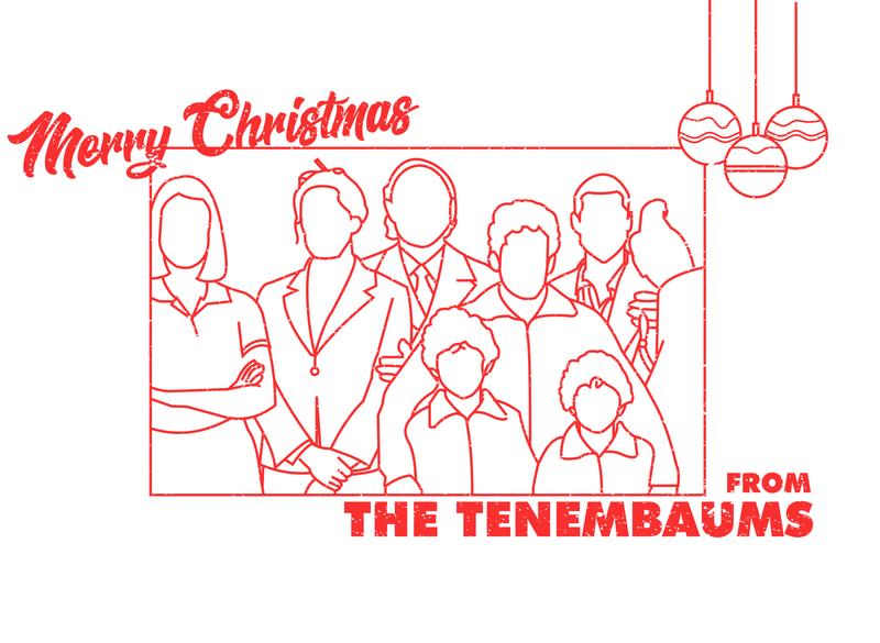 MERRY CHRISTMAS FROM THE TENENBAUMS - Dribbble Weekly Warm-up 14 grain minimalist linework christmas card chirstmas wes anderson vector line art design dribbbleweeklywarmup adobe illustrator