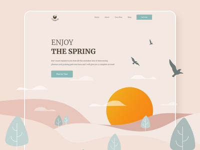Spring Vacation banner landing page challenge travelagency digital agency web design minimal ui party webdesign summer vacation spring