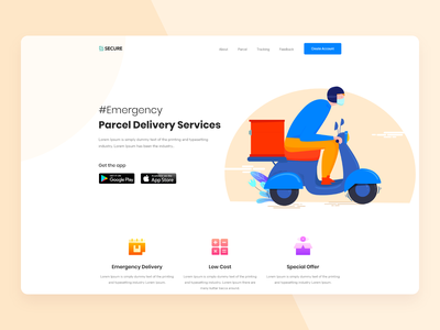 Parcel Delivery product delivery delivery secure web design agency digital agency landing landing page ecommerce design ecommerce website webdesign ui parcel delivery parcel