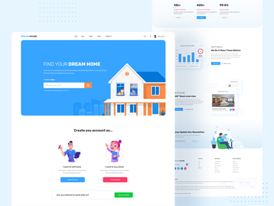 Real Estate Landing Page landing page ui 2020 ui trends landing page concept 2020 trends landing page design web design responsive corporate real estate business house rent house sell dream home sell rent landing page