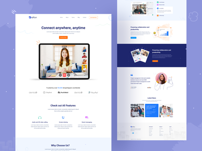 Video Conference Website Landing Page Design online meeting online meet landingpage video conference teamwork zoom group call live chat videochat videocall ui webdesign