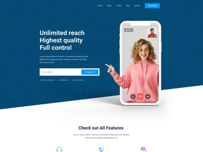 Video Conference Website Landing Page Design figma web template screen share testimonial pricing plan workfromhome covid19 treand family time online course online class ui webdesign audio call video call video conferencing video conference landingpage online meet online meeting