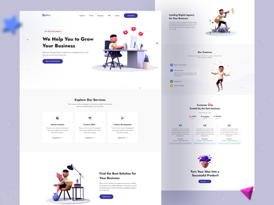 Digital Agency Landing Page dribbble trend marketing marketing agency digital marketing design agency minimal 3d modeling 3d dailyui design market analysis seo landing page digital agency