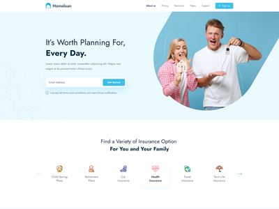 Insurance Website Design creative minimal website healthy lifestyle investment security family wealth life insurance carloan homeloan landing page ui webdesign insurance
