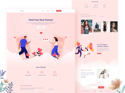 Dating Landing Page gf bf love xd challenge 2019 trends datepicker adobexd colorful vector illustration single couple ui web design webdesign landingpage dating date