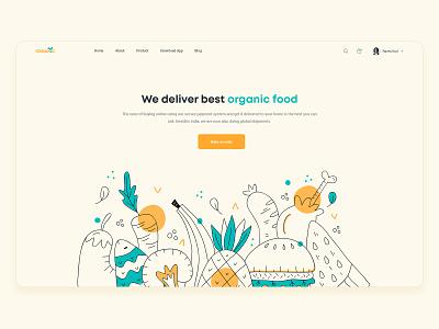 Food Delivery Services minimal food delivery organic banner web design website ui landingpage ecommerce delivery food webdesign