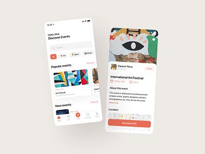 Festivals & Events App minimal ios ui mobile app mobile ios app app design app ux design
