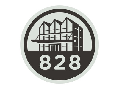 828 logo icon industrial building logo stamp simple clean design