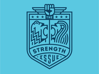 The Strength Issue Seal Two 828 fist strength lion bear badge