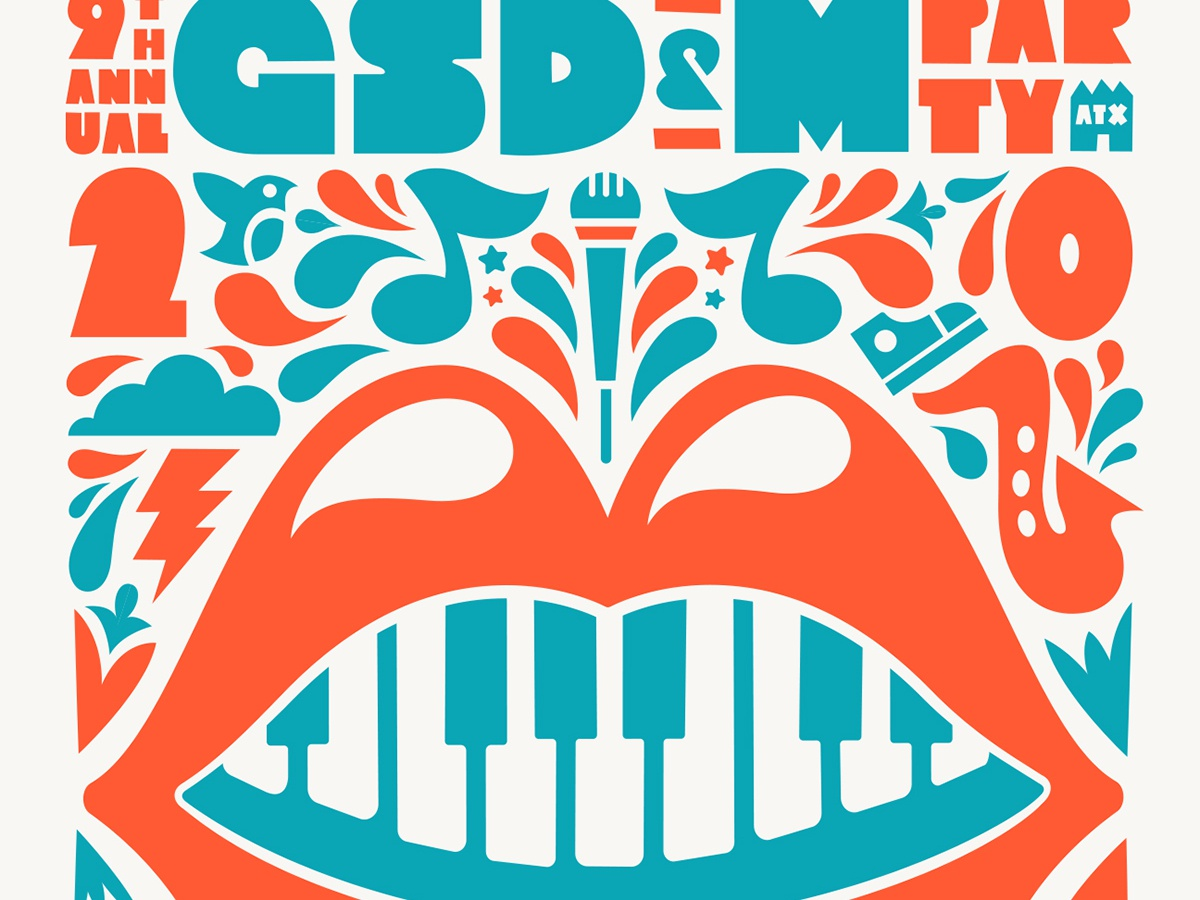 2019 GSD&M Party Poster lips bigmouth 828 828atx atx gsdm