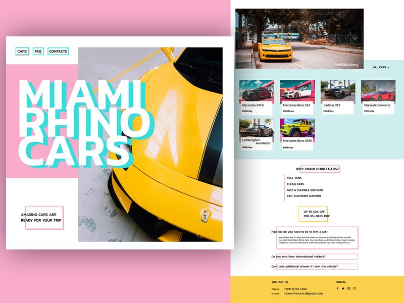 Miami car rent webdesign website web ui