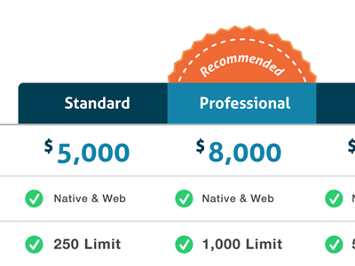 Company Pricing Table - Draft pricing table website web page ui design colorful orange blue company base price