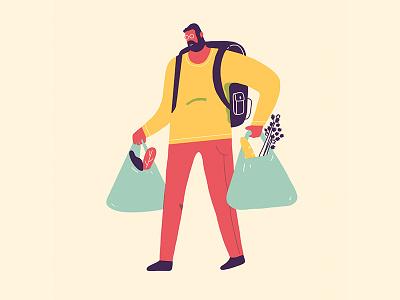 PEOPLE vegetables shopping bag urban illustration design food characters people