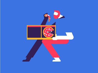 PIZZA illustration best italian character slice pizza food break delivery dinner