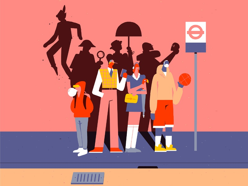 We are Heroes. fausto montanari conceptual artdirection design illustration wait streetwear bus stop shadows stories transport london people heroes