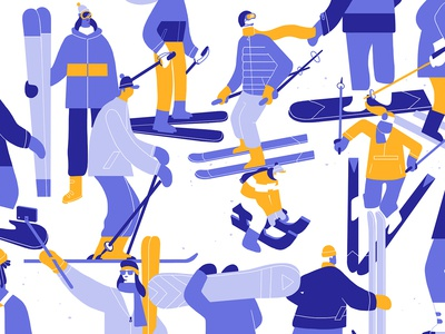 Ski holiday crowded pattern mountain apparel winter snow snowboard skier ski editorial fashion character design people fausto montanari illustration