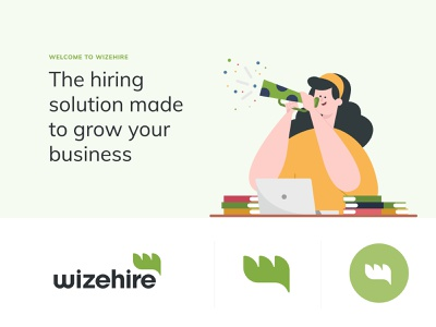 WizeHire Branding leaf celebrate font branding ats hire remote green hiring wizehire illustration logo