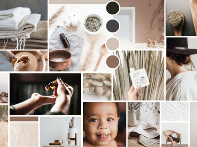 Our Well House Mood Board brand identity brand guide earth tones texture whimsical mid century modern minimal linen photography style branding mid century mood moodboard