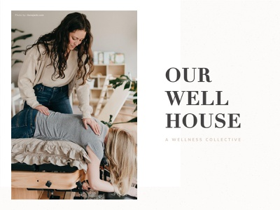 Our Well House Logo neutral colors feminine modern serif chiropractic holistic identity logo branding minimal healthcare collective wellness