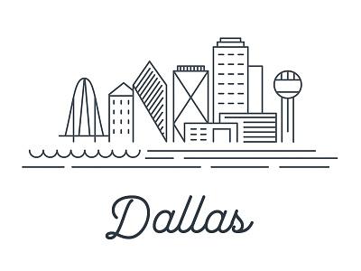 Dallas Skyline Illustration tx cityscape city illustration lines skyline texas dallas
