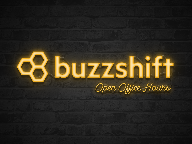 Buzzshift Open Office Hours photoshop logo illustration open office hours lights neon sign yellow retro sign neon dallas buzzshift