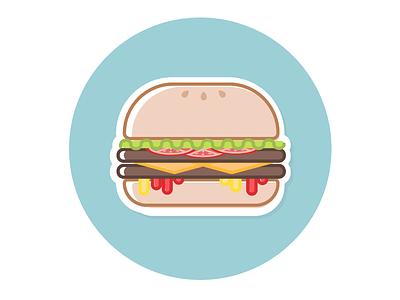 Double Cheeseburger cooking summer vector illustration food hamburger fresh burger icon sticker cheeseburger