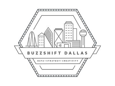 Buzzshift Badge illustration dallas texas buzzshift data strategy creativity illustrator black and white badge