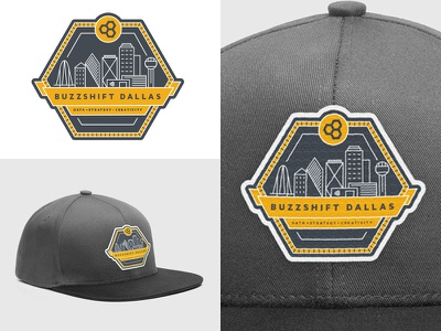 Buzzshift Dallas Skyline Hat Patch / Badge embroidered strategy data creativity badge hat yellow navy patch skyline dallas buzzshift