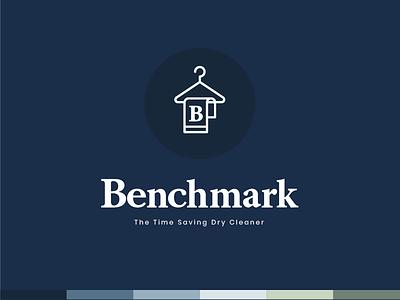 Benchmark Logo Version 1 benchmark b hanger illustation serif dry cleaners logo