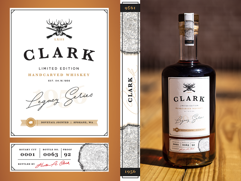Whiskey Bottle Gift Label - Clark washington wood legacy bottle bottle design bottle label logo whiskey and branding whiskey