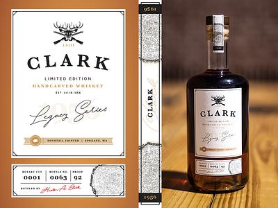Whiskey Bottle Gift Label - Clark washington wood legacy bottle bottle design bottle label logo whiskey and branding whiskey