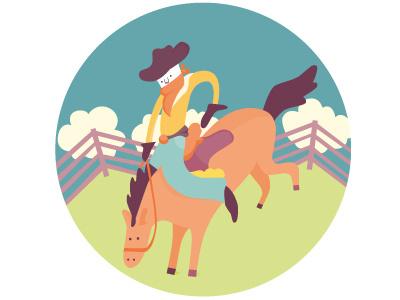 Cowboy vector illustration horse cowboy