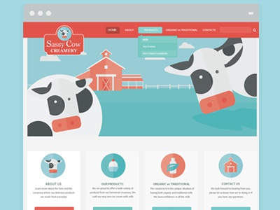 Sassy Cow Creamery vector illustration web design web page cow icons