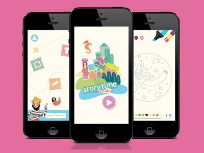 Story Time Studio app vector app design ui icons illustration children app story time
