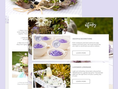 Walk in the Wildflowers Blog Template flower lavender page article landing interface web design
