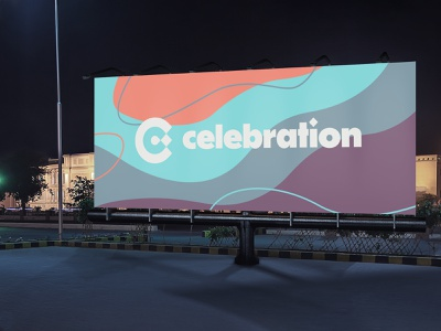 Celebration Billboard 2 symbol mockup sign neon vibrant minimal simple typography type love vector logo church icon illustrator design identity branding brand