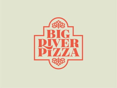 Big River Pizza Logo cheese toppings cream red pizza symbol minimal simple typography vector logo icon illustrator design identity branding brand