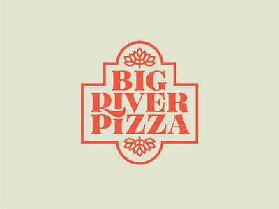 Big River Pizza Logo cheese toppings cream red pizza symbol minimal simple typography vector logo icon illustrator design identity branding brand
