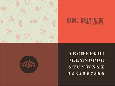 Big River Brand rebrand restaurant toppings cheese symbol minimal simple cream red pizza illustration typography vector logo icon illustrator design identity branding brand