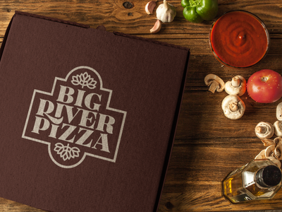Pizza Box Mockup food sauce to go portable ingredients minimal simple symbol restaurant cardboard mockup typography logo icon design identity branding brand