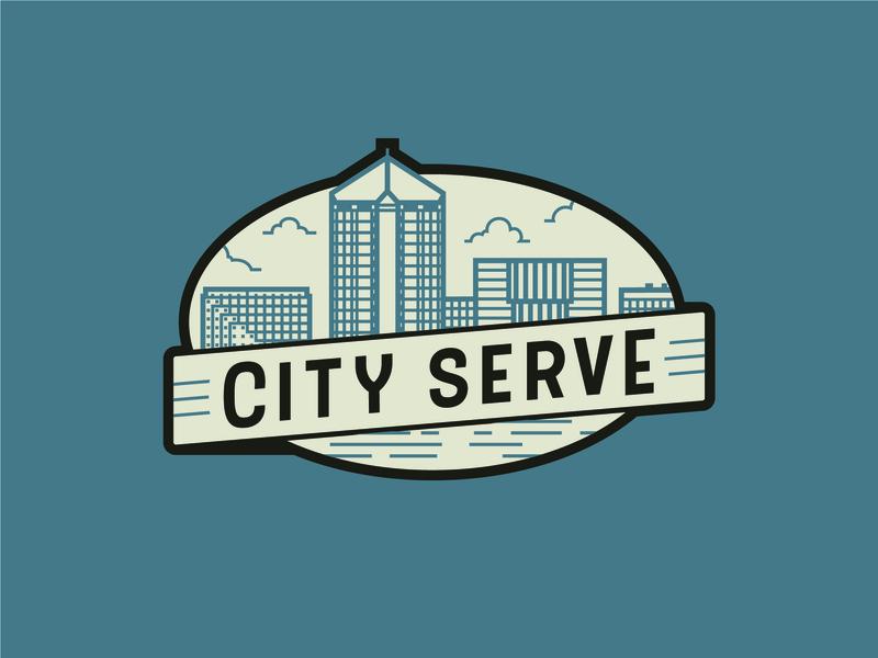 City Serve volunteer tan blue missions vector design logo icon identity illustrator branding brand church