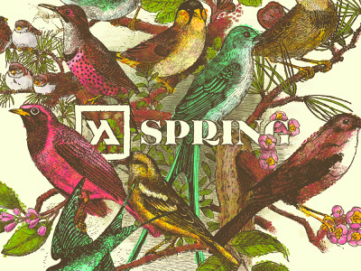 Spring 2018 impressionist paul signac flowers love typography triad birds adults young illustration identity design photoshop branding brand church