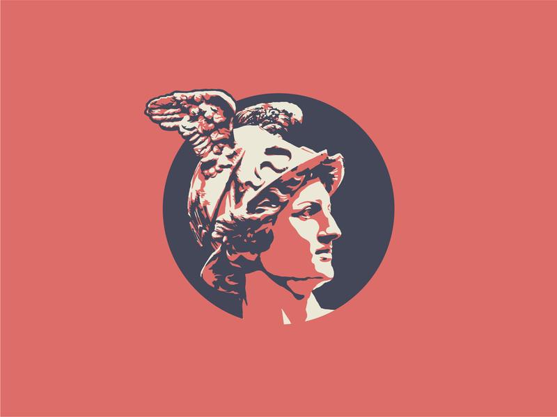 Hermes tritone sculpture statue mercury roman greek illustration vector icon illustrator design identity branding brand