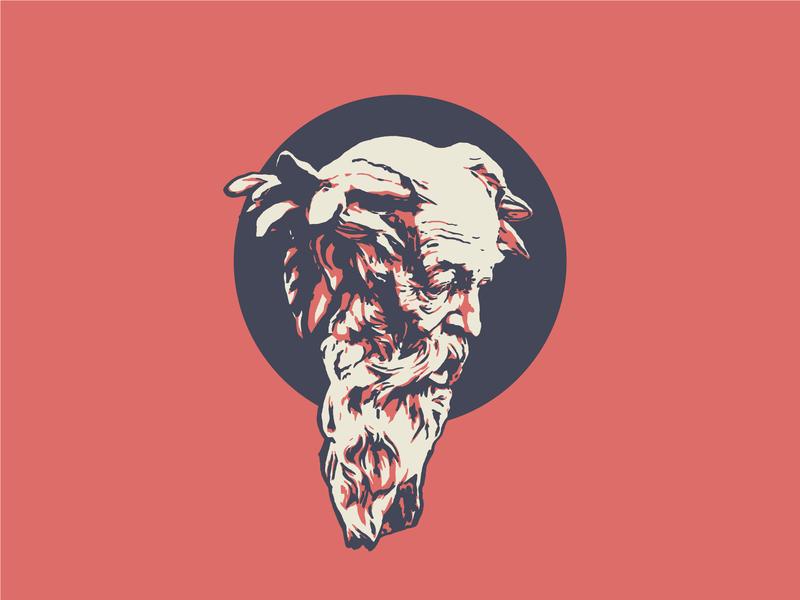 Poseidon vector tritone greek neptune statue sculpture illustration illustrator design identity branding brand
