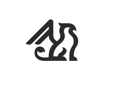 Griffin 1 animal mythological myth modern lion bird eagle silhouette vector logo icon illustrator design identity branding brand