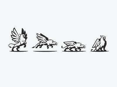 Poses illustration sit run fly wing mythological mythology myth silhouette animal lion bird eagle vector logo icon design identity branding brand